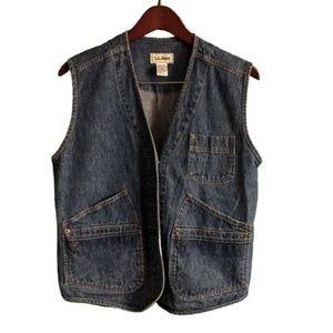 LL Bean Blue Denim Jeans Vest Women's Size M